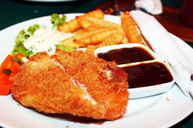 Gordon Blue w/ French Fries and BBQ Sauce at Rumah Nenenk, Bandung