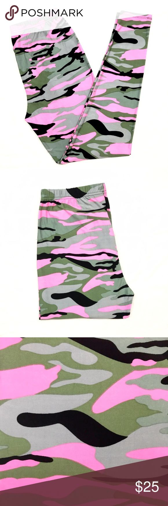 Buttery Soft Pink Camouflage CAMO Leggings Plus TC BUTTERY SOFT PINK CAMOUFLAGE CAMO LEGGINGS 
