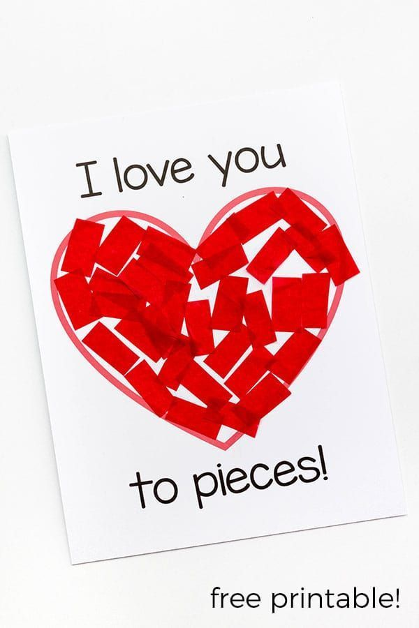 """This """"I love you to pieces!""""  Valentine's Day craft is perfect for kids of all ages! The included printable makes it super easy to do and great for fine motor skills!  #DIYcards #ValentinesDaycrafts"""