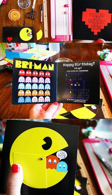Pacman Birthday card DIY by becksorange, via Flickr