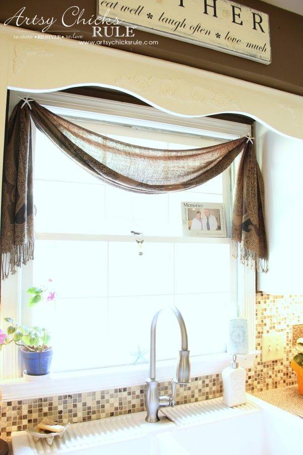 (Simple) Inexpensive Window Treatment Idea -  $10 scarf from World Market & Starfish finial - artsychicksrule