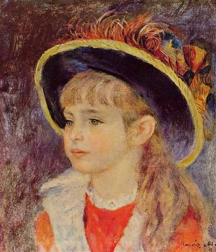 Young Girl in a Blue Hat - Pierre-Auguste Renoir