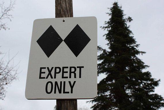 Double Black Diamond Ski Sign   Rustic trail sign