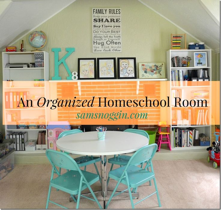 An organized homeschool room