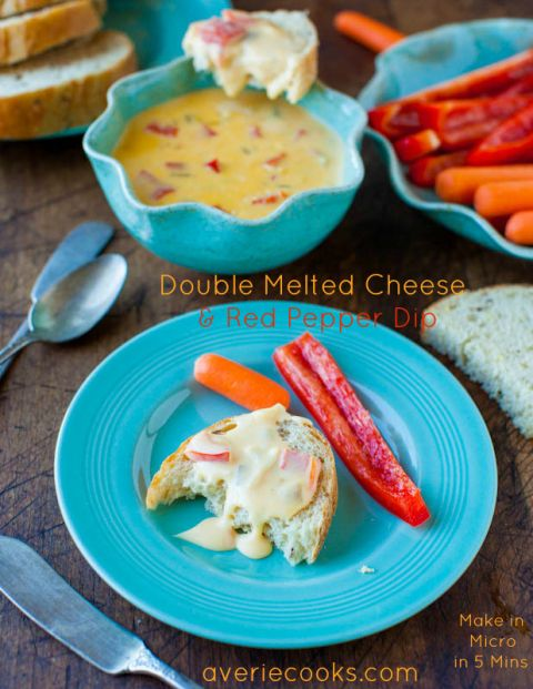 Double Melted Cheese and Red Pepper Dip {aka Ro-Tel Dip or Queso Dip} - Make in the micro in 5 minutes. Dangerously fast and easy for when you've just gotta have some cheesy dip! Recipe at averiecooks.com