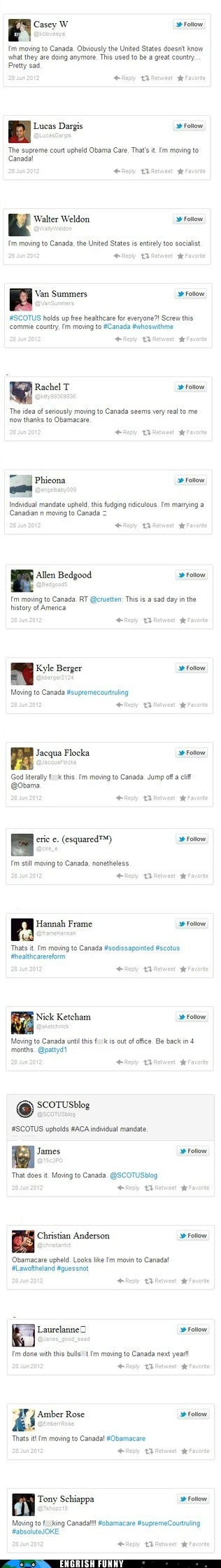 """FailBlog responded...""""Yeah, Canada has one of the most comprehensive socialized healthcare policies in the world. Threatening to move to Canada because of Obamacare is like threatening to move to Amsterdam because you hate marijuana users. So good luck with that, ultra super offended Twitter users"""""""