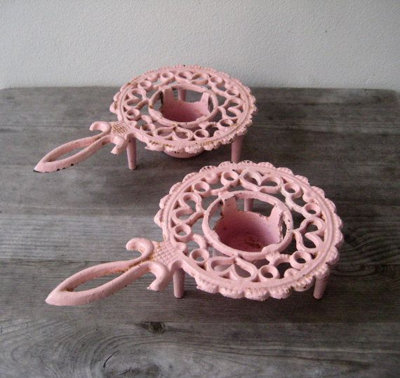 Vintage cast iron Tea Light Warmers Trivet by VerbruggeWatercolor