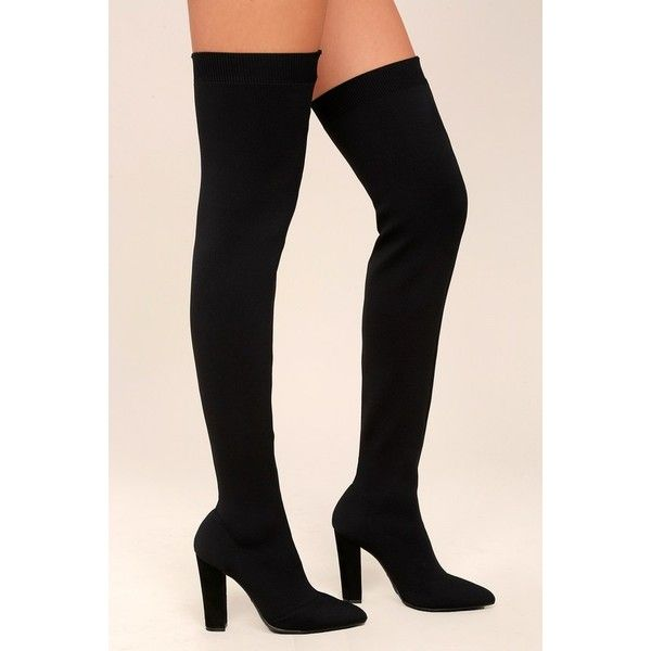Bamboo  Alyce Black Knit Thigh-High High Heel Boots ($79) ❤ liked on Polyvore featuring shoes, boots, black, black over-the-knee boots, black boots, over the knee boots, over-knee boots and black pointed toe boots