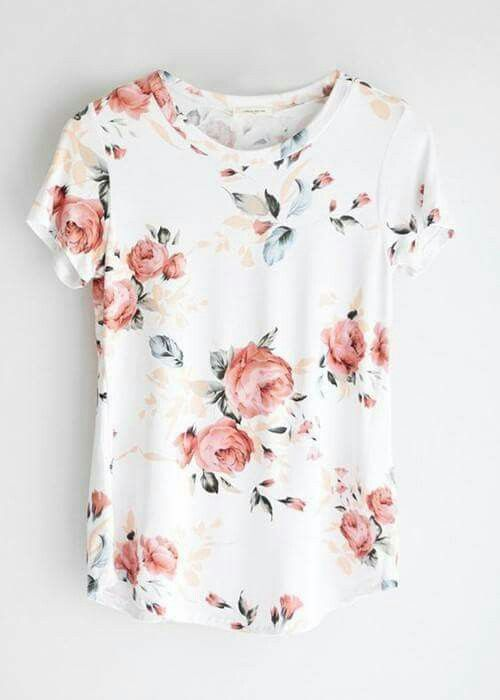$23.99 Spring flower: Fashion Teenage Round Neckline Little Floral Print Top