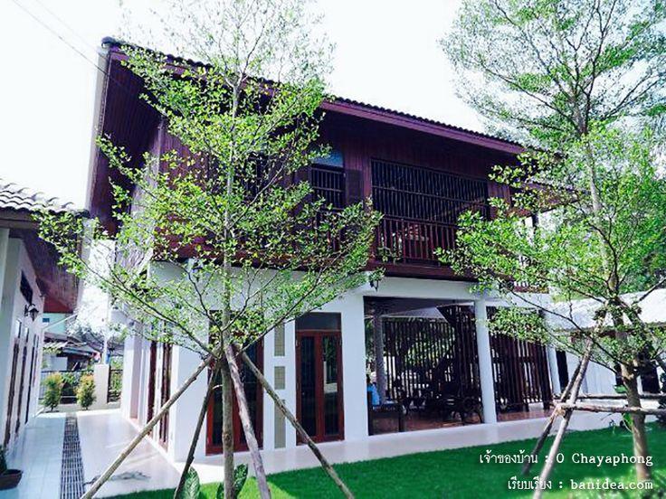 แบบบ้านไทยประยุกต์ ด้านล่างปูน ชั้นบนไม้