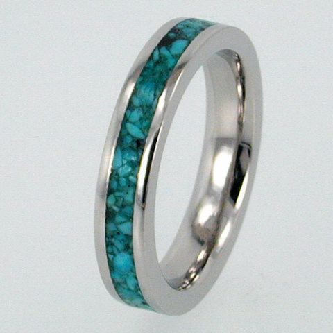 Palladium Wedding Ring inlaid with Turquoise by jewelrybyjohan, $867.00