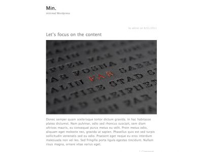 Min. free wordpress theme by Jared Erickson