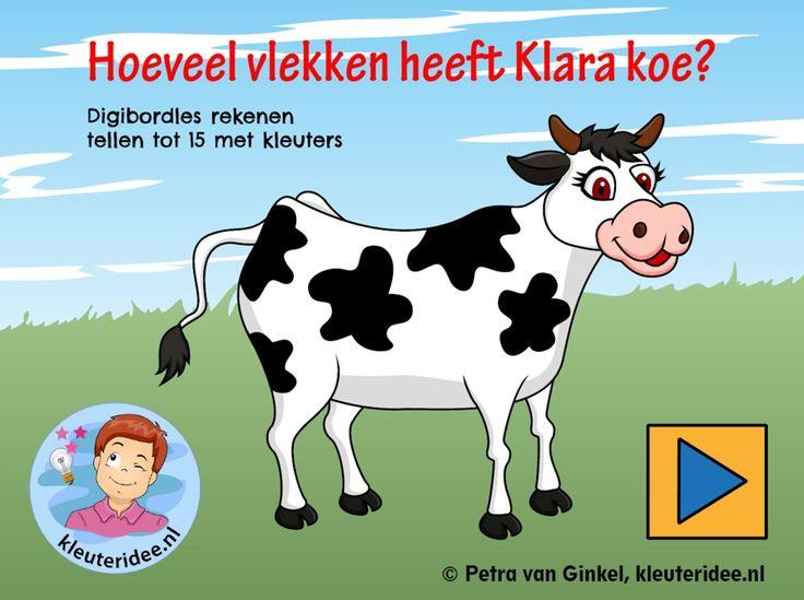 *▶Digibordles tellen tot 15, kleuteridee.nl, gecijferdheid thema de koe, cow counting Kindergarten IWB.