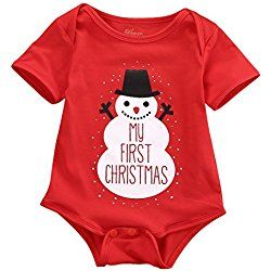 Newborn Baby Kids Snowmen My First Christmas Bodysuit Jumpsuit Outfits Set 0-18M