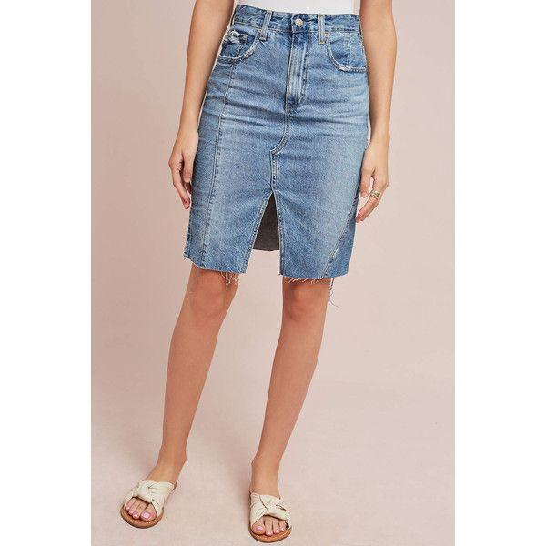 AG Jeans AG Split Front Denim Skirt ($198) ❤ liked on Polyvore featuring skirts, denim dark, pink skirt, knee length denim skirt, ag adriano goldschmied, pink denim skirt and denim skirt