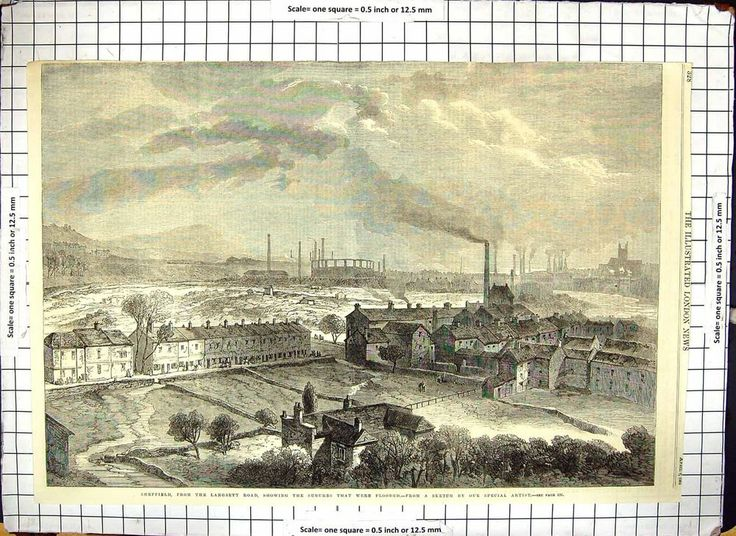 Antique Print of of Sheffield Flood Suburbs From Langsett Road 1864