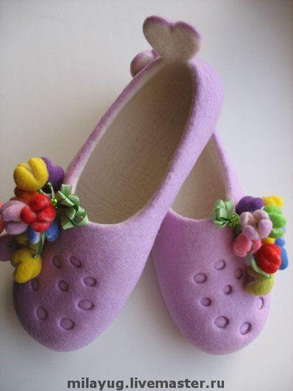 """Felted Slippers MilaYug Обувь ручной работы. Ярмарка Мастеров - ручная работа Тапочки """"Для самой Любимой"""" валяные. Handmade."""