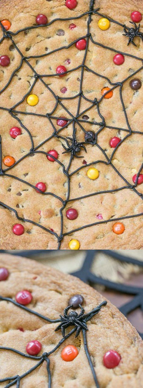 This Spiderweb Cookie Cake from That Skinny Chick Can Bake s the perfect creepy, crawly treat for Halloween. A tasty chocolate chip and M&M cookie cake is piped with a fun spiderweb pattern!