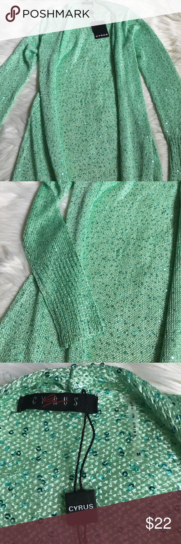 🎓GRADUATION SALE🎓Cyrus green sequin cardigan Size M. It is NWT but there are several small snags. Not very noticeable, but for that reason I'm not listing as NWT. Price firm unless bundled Sweaters Cardigans