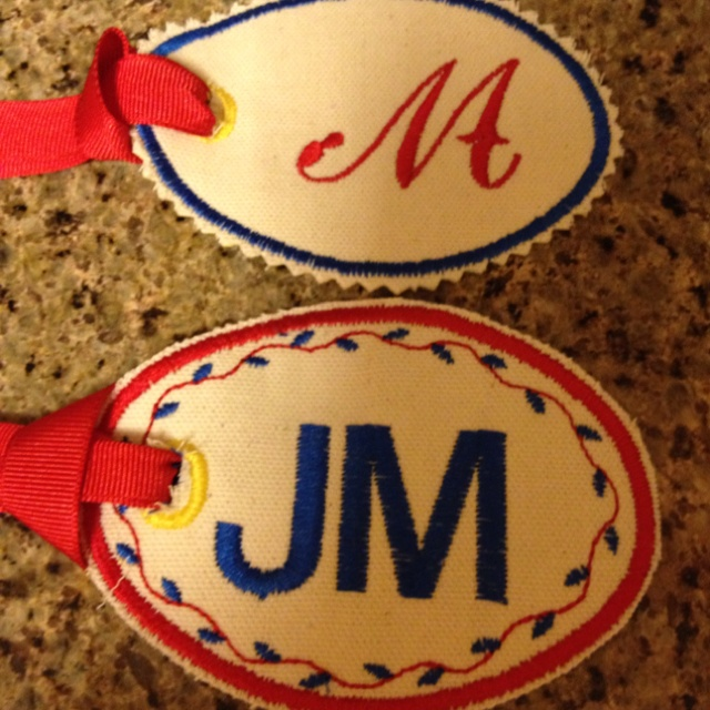 I love my new name tags. Made with my Brother embroidery machine.
