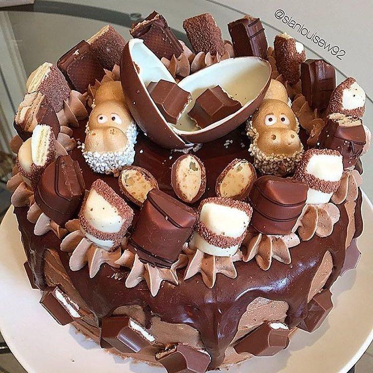 -Chocolate cake with kinder Bueno flavoured butter cream chocolate ganache drip…