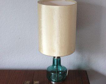 70er Jahre Vintage Tischlampe Lampe Stehlampe Nachttischlampe Lampenschirm  Lampenfuss Glas Chrom Türkis Beige Mid Century Modern