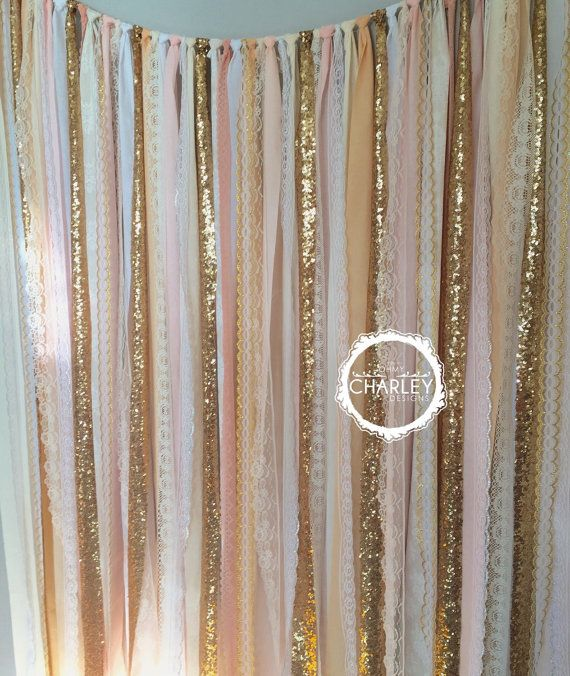 Blush, Nude, Rose Quartz, Peach with Gold Sparkle Sequin Fabric Backdrop -- Lace - Wedding Garland, Photo Prop, Curtain, Baby Shower