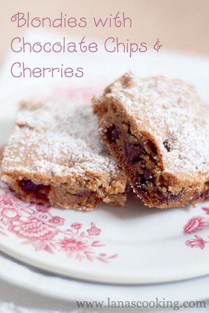 Blondies with Chocolate Chips and Cherries: Food E Licious, Chocolate ...