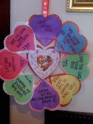 Valentine Scripture Wreath - This would be a great project for the Valentine Widows Banquet at our church!