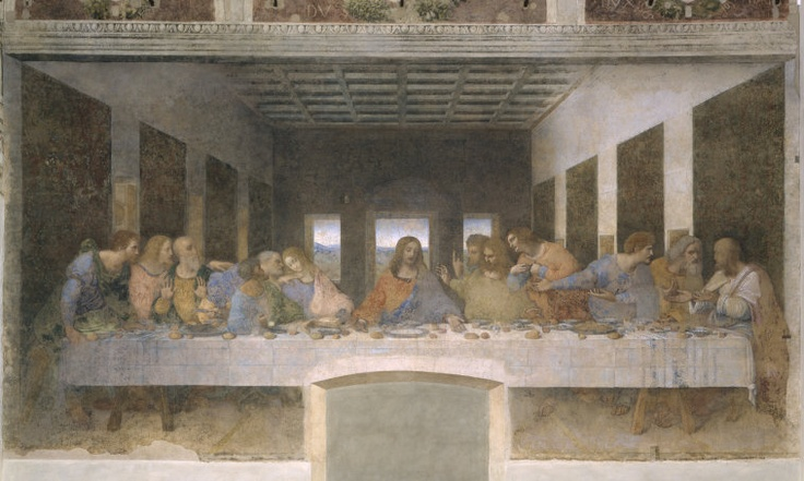 "Title: ""Last Supper"" • Artist: Leonardo da Vinci • Medium: Tempera mural • Date: c. 1495 • Location: Maria delle Grazie (Milan) • Source: Oxford Art Online • Leonardo filled this painting with symbolic references. The apostles each depict some aspect of their personality. For example, Judas is seen clutching the purse of money he was given by the Pharisees, as well as reaching to dip his bread into the same bowl as Christ. Currently, only 42.5% percent of the painting that remains was…"