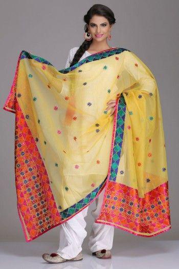 Stunning Yellow Net Dupatta With Multicoloured Phulkari Embroidery