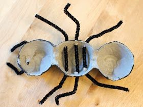 string through pipe cleaners through your egg carton ants