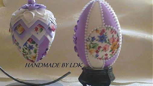 Veľká Noc - Velkonočné vajíčka - fialovo biele - 3831744_