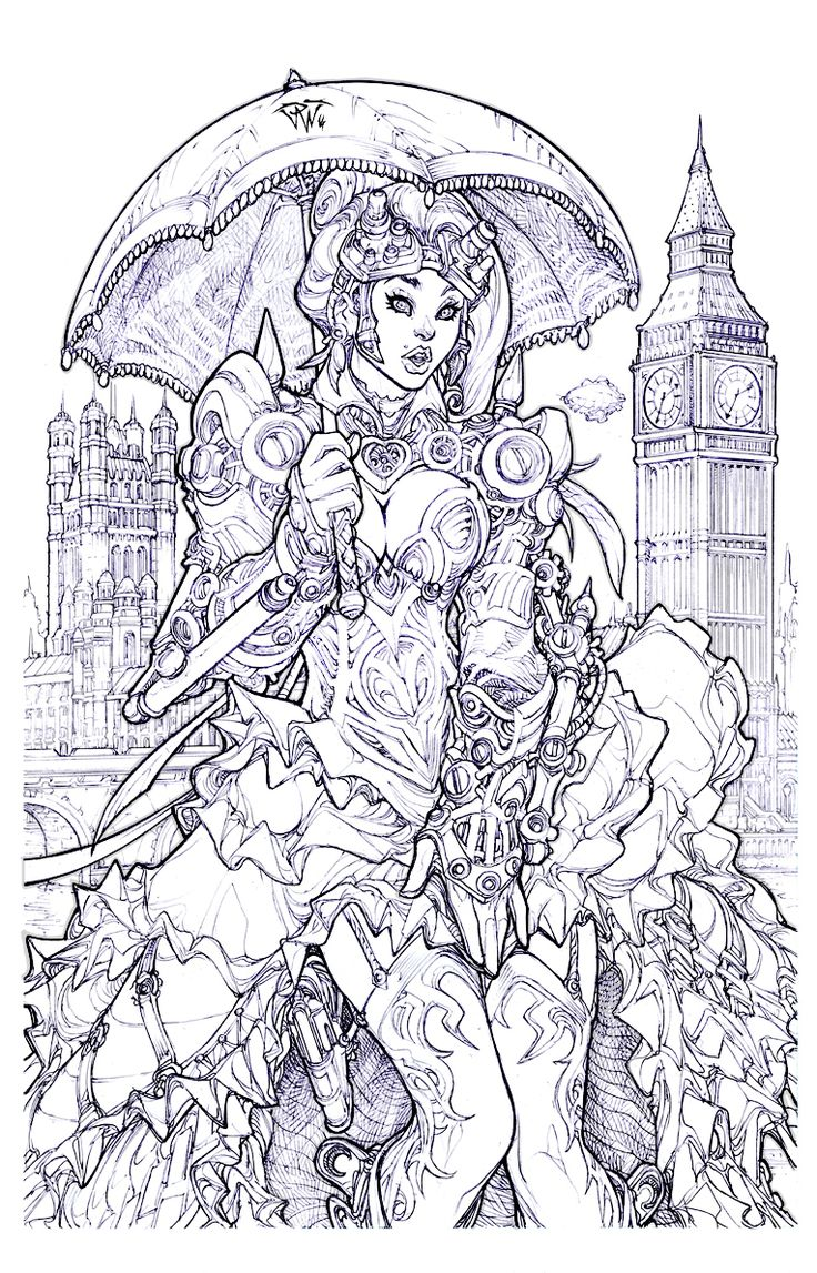 London Steampunk Adult Colouring Page By Pant