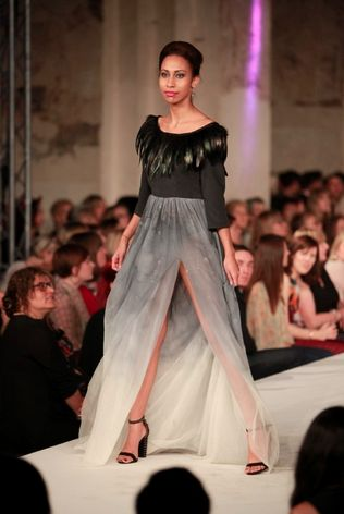 This stunning gown, designed by a student from Oaklands College, was part of our exhibition in the centre of St. Albans City for the whole of October. #CreativeNextGeneration #SAFW2014