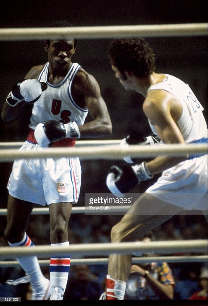 Howard Davis of the USA in action during a bout against Tzvetan Tzvetkov of Bulgaria during the 1976 Summer Olympic Games on July 27, 1976 in Montreal, Quebec, Canada.