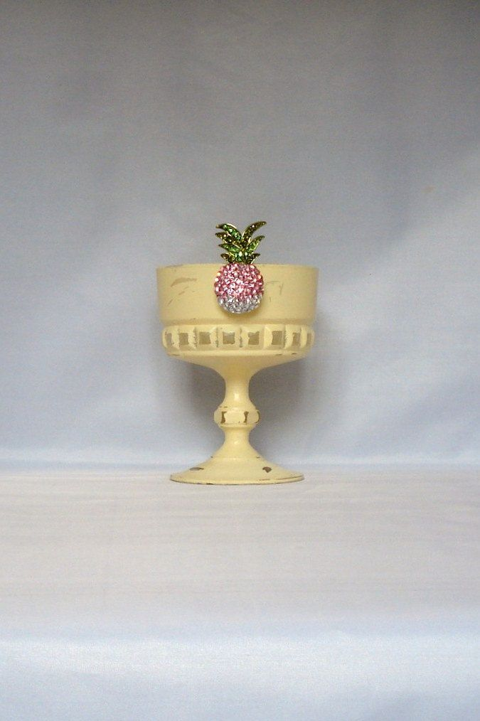Yellow Tropical Pineapple Candle Holder Glass Pink Green and White Diamante Decoration Table Candle Centrepiece  Trinket Pot by LouLaBelleG on Etsy