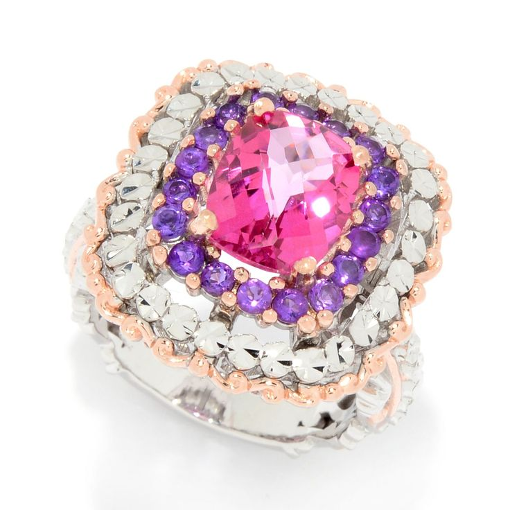 161-242 - Gems en Vogue 4.35ctw Pink Topaz & African Amethyst Diamond Cut Halo Ring