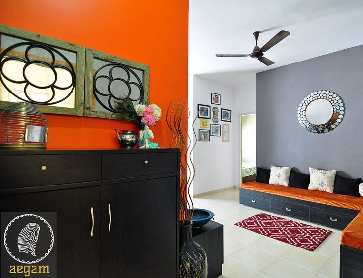 Strikingly Beautiful Apartment Living Room   Orange Gray Color Scheme    Remodeled By Sudha Seenivasan, Aegam Interior Design Chennai