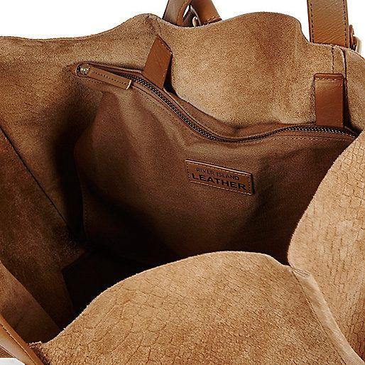 Tan scale leather winged handbag