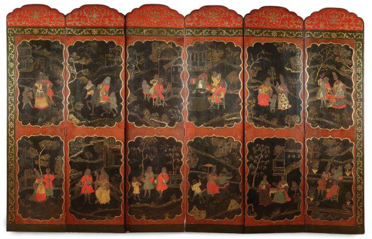 BIOMBO DE 6 HOJAS EN LACA. COMPAÑÍA DE INDIAS. PRINCIPIOS SIGLO XVIII. DECORACIÓN CON ESCENAS DE PERSONAJES OCCIDENTALES