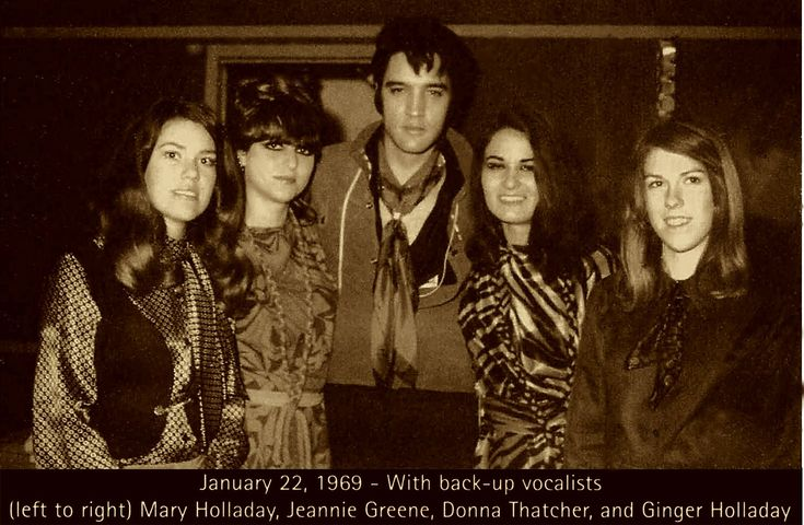 "Elvis with the back-up vocalists for the studio recording of ""Suspicious Minds"" - January 22, 1969 - Mary Holladay, Mary (Jeannie) Green, Elvis, Donna Thatcher and Ginger Holladay - who also sang on ""In the Ghetto, ""Rubber Neckin',"" ""(Cold) Kentucky Rain,"" and others. During those sessions, the girls recorded nine songs with Elvis."