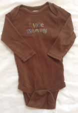 Miniwear Baby Boys I Love Mommy Brown Long Sleeved One Piece 12m