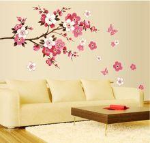 gratis verzending uitneembare pvc moderne perzik bloesem vlinder home decor kunst trouwzaal meisjes kamer muurstickers sticker poster(China (Mainland))