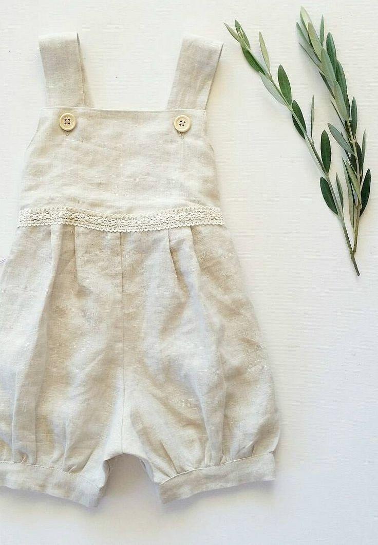 Girls Handmade Natural Linen Romper | Lilac Handmade on Etsy