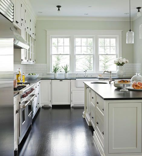 a life's design: Serene & Spacious...: Green Wall, Subway Tile, Kitchens Islands, Benjamin Moore, Granite Countertops, White Cabinets, Kitchens Cabinets, Mornings Dew, White Kitchens