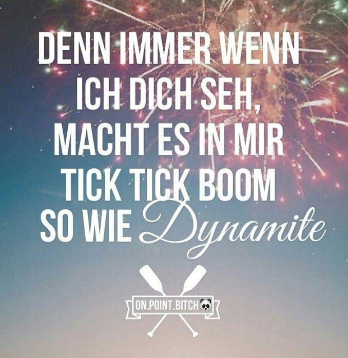 Denn immer wenn ich dich seh, macht es in mir tick tick boom so wie Dynamite //  Traum - Cro *_*