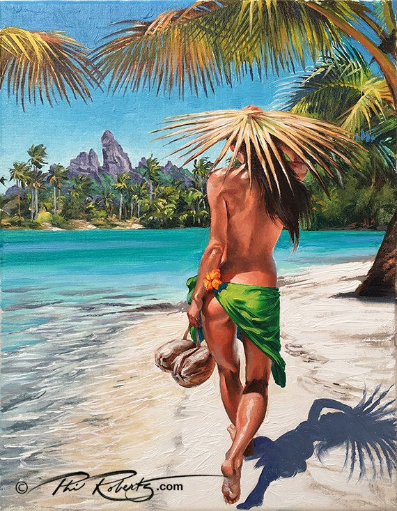 "Hula Girl Fine Art ""Coconuts for Lunch"" Island Collection by Phil Roberts by BeachesAndCoconuts on Etsy"