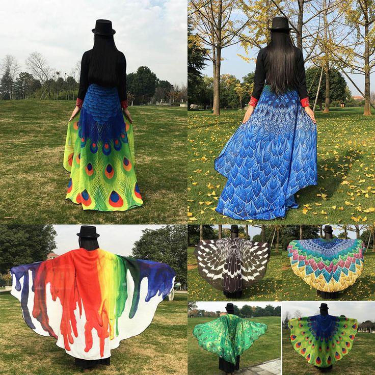 Fashion Soft Peacock Wings Shawl Fairy Pixie Costume Festival Accessory Plus