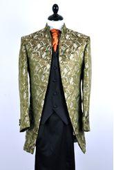 By Eneroth wedding suit Nehru style in green silkbrocade